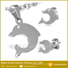 Acier inoxydable Set bijoux 2015 en gros en acier dauphin Costume Jewelry Set