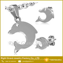 Aço inoxidável Set Jóias 2015 Atacado Aço Dolphin Costume Jewelry Set