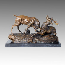 Animal Statue Double Deers Playing Bronze Sculpture, Thomas Tpal-155
