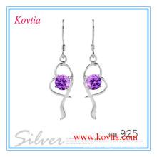 Charming 925 silver amethyst dangle earrings