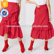 Asymmetric Hem Red Cotton Overlap Maxi Frill Summer Skirt Manufacture Wholesale Fashion Women Apparel (TA0046S)
