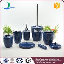 Los accesorios azules clásicos clásicos del cuarto de baño de la cerámica 7PCS fijaron