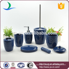 Living classical ceramic 7PCS blue bathroom accessories set