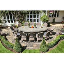 Silla de mimbre 12pcs jardín con mesa ovalada