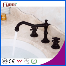 Fyeer 3 Hole Oil Rubbed Bronze Basin Water Mixer Faucet