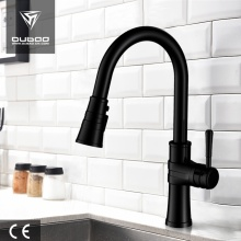 Deck-Mount Black Pulldown Kitchen Tap Faucet For Sink