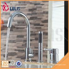 Faucet de banheira de latão de três peças com misturador de duche de mão