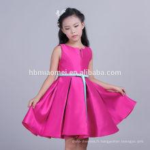 Haute Qualité Rose Rouge Couleur Sans Manches Vêtements Personnalisés Nouvelle Fille Modèle Robe