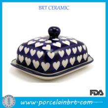 Plato de mantequilla de cerámica del amor completamente