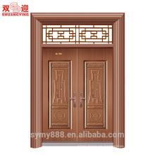 Culrural Customized Steel Entry Double Door Buena Suerte y Felicidad Seguridad Honorable Decorativo