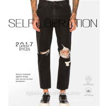 Men's fashion jeans black pants classic washed denim pants