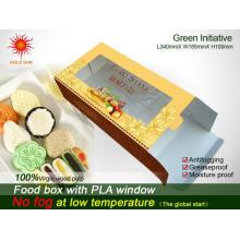 Embalaje barato de la caja de los alimentos de preparación rápida del triángulo con la ventana antiempañamiento