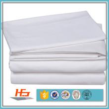 Tela branca da folha de cama da mistura do algodão do hotel