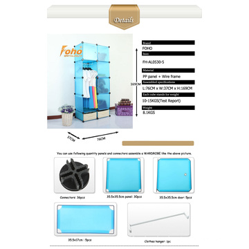 Blue Plastic DIY Storage Cbinet with Many Colors Available (FH-AL0530-5)