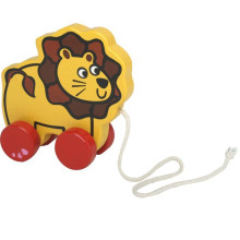 Animaux en bois pour animaux Pulling-along Lion