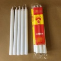 10 inch white taper candles burning ribbed candles
