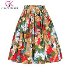 Grace Karin Frauen Vintage Retro gefaltete Baumwolle Print A-Linie Rock 5 Muster CL010401-1