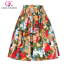 Grace Karin Women's Vintage Retro Pleated Cotton Print A-Line Skirt 5 Patterns CL010401-1