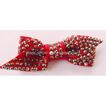 Bowknot Fabric Hotfix Rhinestone Flower Shoe Ornaments