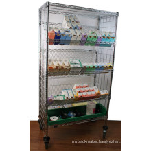 NSF Metal Slanted Display Shelving Rack for Hospital/Drugstore (SL186086A7CW)