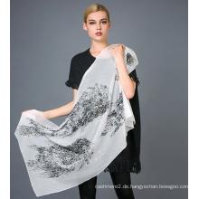 Pure Silk Beflockung gedruckt Schal Goldfolie gedruckt Schal