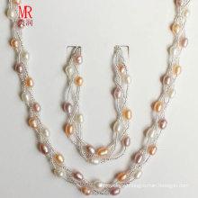 Комплект ювелирных изделий перлы смешанного цвета первоначально