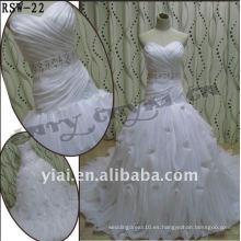 RSW-22 2011 Venta caliente nuevo diseño damas moda elegante personalizado bordado con cuentas Bello drapeado vestido de novia de volantes
