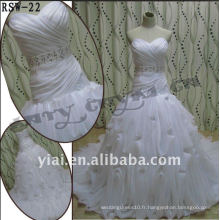 RSW-22 2011 Hot Sell New Design Ladies à la mode élégante et élégante à la ceinture en perles Belle drape Ruffle Robe de mariée