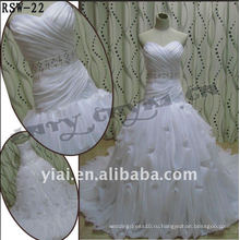 РСВ-22 2011 горячий продавать новый дизайн дамы модные элегантные Подгонянный вышитый бисером пояса красивой драпировкой рюшами свадебные платья