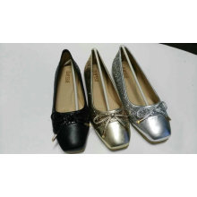 Lasted Shinning PU Women Flat Shoe with Bow (NU020-1)