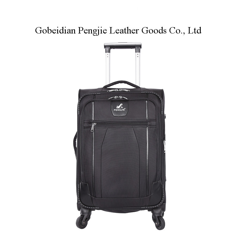 OEM Logo Factory Supplier Soft Polyester Fabirc 3 pcs Set Rolling Travel Suitcase Trolley Luggage