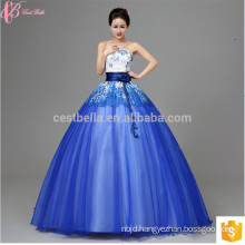 New Fashion Lace Off-Shoulder 2017 Female Formal Dress Royal Blue Ball Gown Wedding Dress