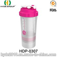 500ml BPA gratis botella de la coctelera de proteína, polvo de plástico botella de la coctelera (HDP-0307)