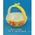 Cesta de huevo de cerámica pintada a mano para la decoración de Pascua
