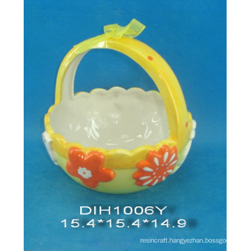 Hand-Painted Ceramic Egg Basket for Easter Decoration