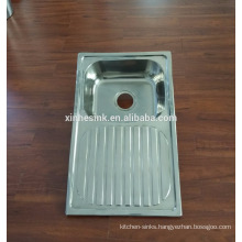 Topmounted Stainless Steel Single bowl kitchen sink with draining board