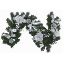 Artificial white tinsel garland