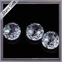 Les pierres rondes brillantes de zircone de couleur blanche de coupe ronde rose de 5mm pour des bijoux