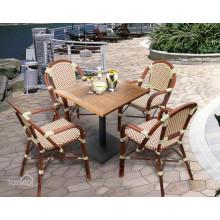 Chaise et table à café en aluminium à rotin en aluminium