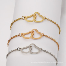 Summer new creative mirror stainless steel double love couple bracelet anklet