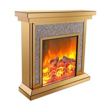 brown mirrored glass electric fireplace