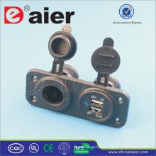 Daier Panel Montiert Micro USB Car Charger 2 Port und Auto 12V DC Buchse