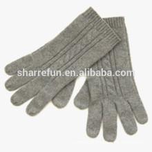 Usine en gros câble / plat tricoté 100% pur gants en cachemire