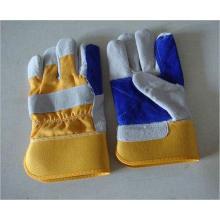 Gestreifte Cow Split Leder Voll Palm Handschuh