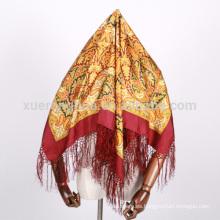 bufandas de seda cuadradas impresas digitales del estilo de la India y del pavo
