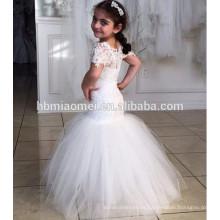 2016 nuevas muchachas del color blanco de la manera bailan el vestido pari de la alineada del funcionamiento para la niña con la cola de pez