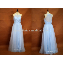 Fresh Light Blue Halter Floor Length Tulle Wedding Robe de demoiselle d'honneur pour l'été