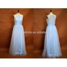 Fresh Light Blue Halter Floor Length Tulle Wedding Bridesmaid Dress For Summer