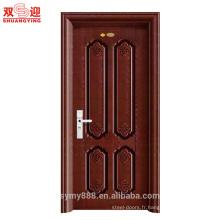 Porte en acier galvanisée à chaud de porte en métal en acier de fer de porte simple de fer anti-vol / porte d'entrée en acier galvanisée