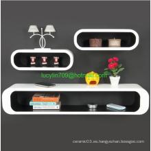 Estante de pared Decoración Conjunto Unidad Muebles de alto brillo Hogar Moderno Estantes de almacenamiento blancos